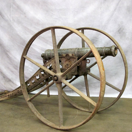 Original British 1 Pounder Falconet Bronze Cannon with Cast Iron Winter Carriage Marked Liverpool England