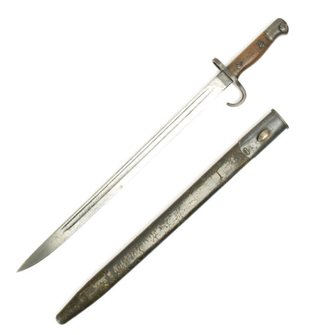 Original British P-1907 First Model Hooked Quillon Bayonet with Rare 1st Pattern Scabbard - Dated 1908