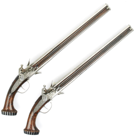 Original French Flintlock Turnover Over-Under Pistol Pair Circa 1645 by Mayer of Lyon
