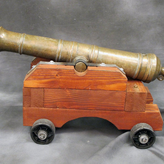 Original 1785/1815 Bronze Cannon with 2 Inch bore & New Wooden Naval Carriage