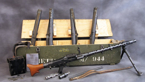 German WWII MG 34 Matching Serial Number Parts Set / Display Gun with Transit Chest- Museum Quality