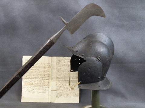 Armored Burgonet Helmet & Polearm from Scottish Castle Leith Hall Circa 1700