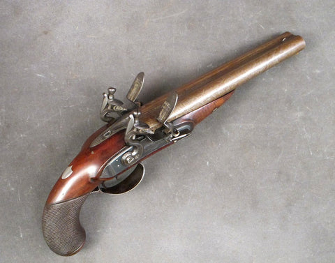 English Double Barreled Flintlock Pistol by Durs Egg of London