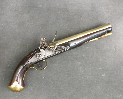 British c.1800 Brass Barrel Flintlock Pistol Marked Thames River Police