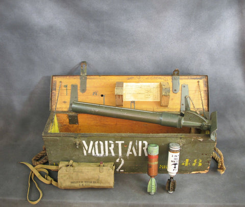 Original British WWII Era 2-Inch Mortar Set with Transit Chest, Inert Bombs and Cleaning Kit Bag