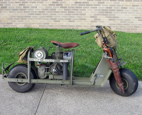Original U.S. WWII 1944 Model 53 Airborne Motor Scooter & Accessories- Fully Restored