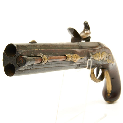Original German Over and Under Flintlock Pistol by Frey of Munchen - Circa 1750