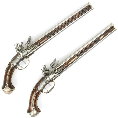 Original French 17th Century Silver Mounted Over-Under Double Barreled Flintlock Pistol Pair with Rare Waterproof Pans