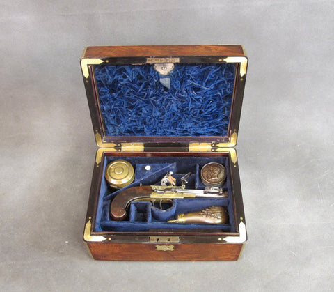 Remarkable Named Cased Double Barrel Flintlock Set from His Majesty's Navy Circa 1808 Original Items