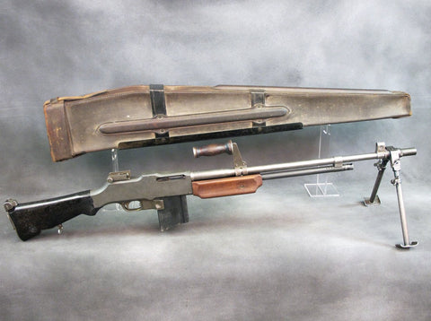 U.S. Browning 1918A2 BAR Display Gun Built with Original Parts & WWII Dated Leather Transit Case