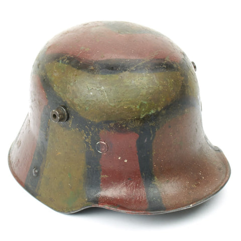 Original German WWI M16 Stahlhelm Helmet with Original Camouflage Paint and Liner- Stamped ET64 Original Items