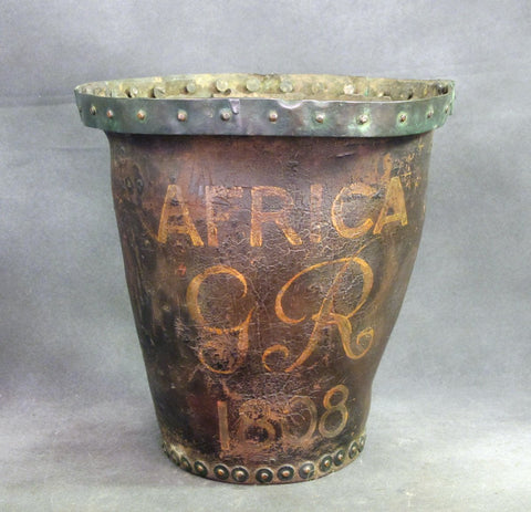 Original British Leather Powder Bucket from HMS Africa Dated 1808 Original Items