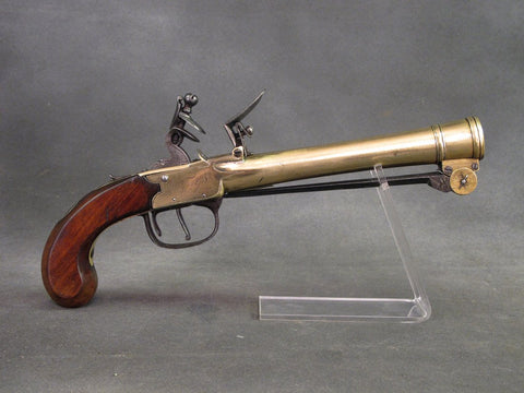 British Brass Waters Patent Blunderbuss Flintlock Pistol with Spring Bayonet