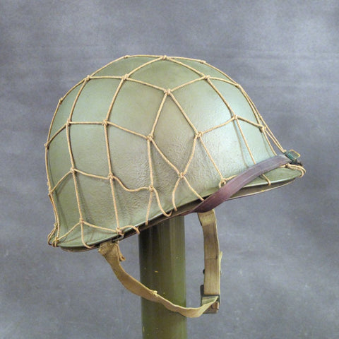 Original WWII 1943 U.S. M1 McCord Front Seam Fixed Bale Helmet with Seaman Paper Co Liner Original Items