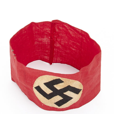 Original German WWII Embroidered Swastika Early SS Cotton Armband Original Items