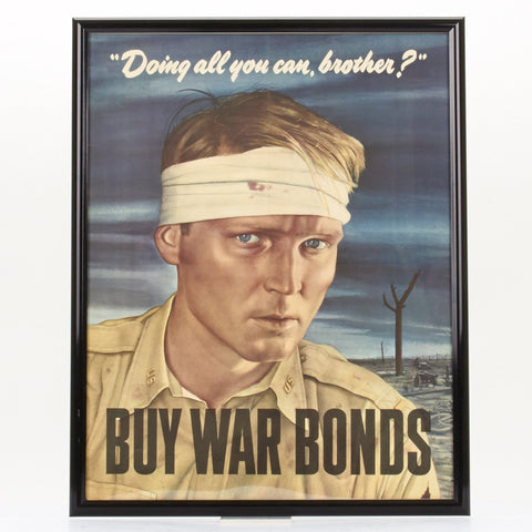 Original WWII Vintage 1943 Propaganda Poster- Doing All You Can Brother? Original Items
