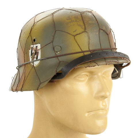 Original Refurbished German M35 SS Single Decal Helmet- ET64