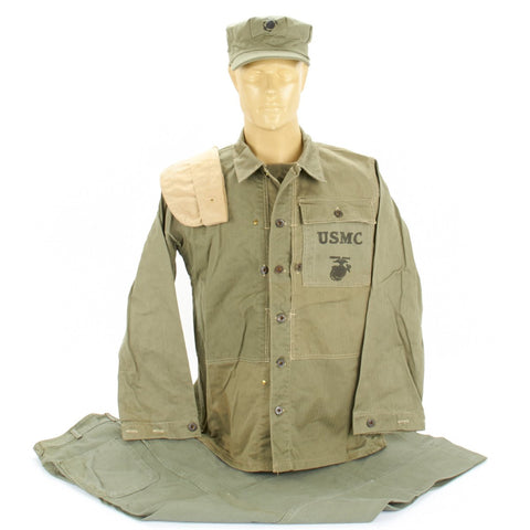 Original U.S. WWII USMC HBT Herringbone Twill P44 Utility Combat Uniform Collection Original Items