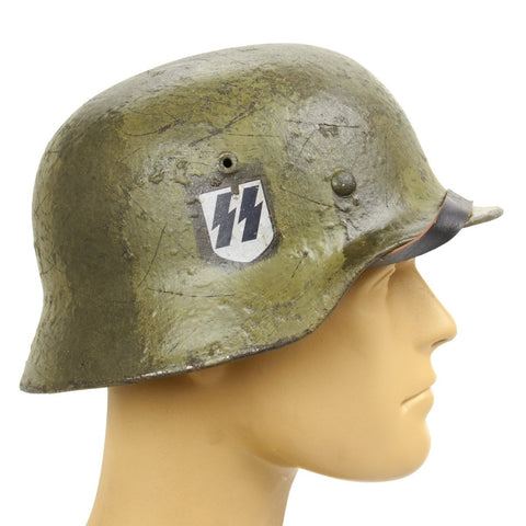Original German WWII Refurbished M40 LSSAH Motorized Regiment Battle of Greece Helmet - Stamped EF66