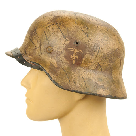 Original German WWII Refurbished M40 Afrikakorp Kasserine Pass Helmet - Stamped EF66 Original Items
