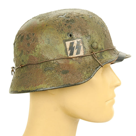 Original German WWII Refurbished M40 12th SS Panzer Division Battle of Villers-Bocage Helmet - Stamped Q62 Original Items