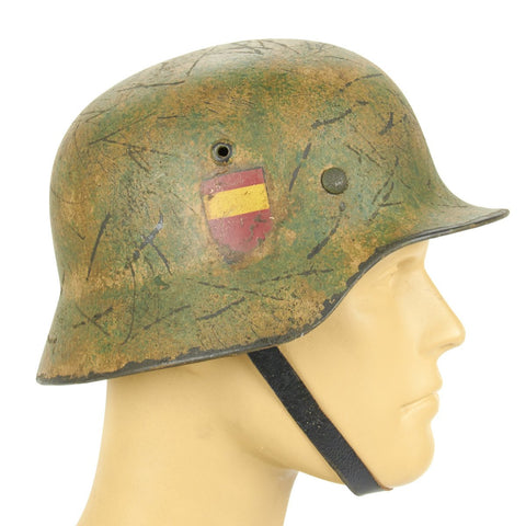 Original German WWII Refurbished M35 Spanish Blue Division Helmet- Stamped Q62