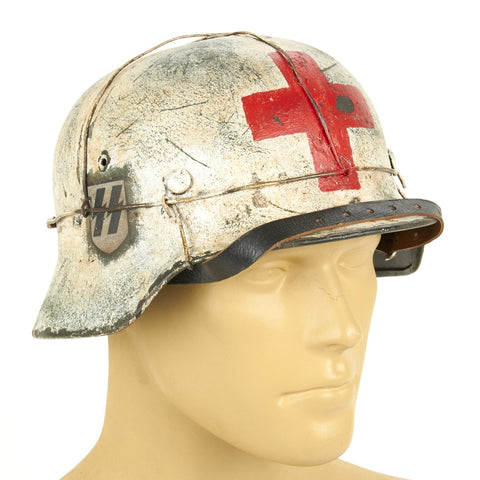 Original German WWII Refurbished M40 SS Ardennes Winter Medic Helmet - Stamped EF64