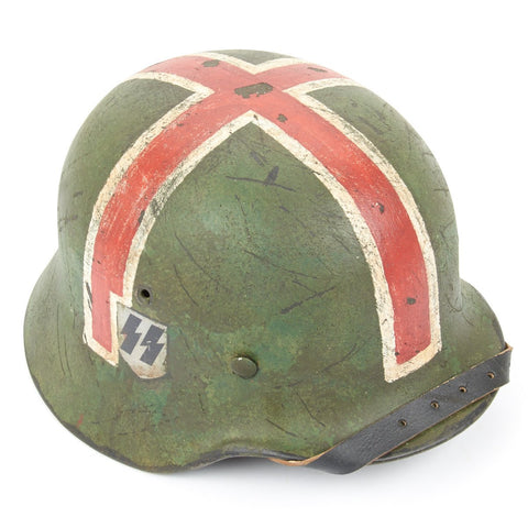 Original German WWII Refurbished M40 Battle of Moscow SS Summer Medic (Sanität) Helmet - Stamped Q66 Original Items