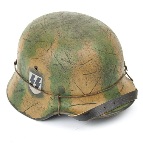 Original German WWII Refurbished M40 1st SS Leibstandarte Battle for Greece Helmet - Stamped EF64