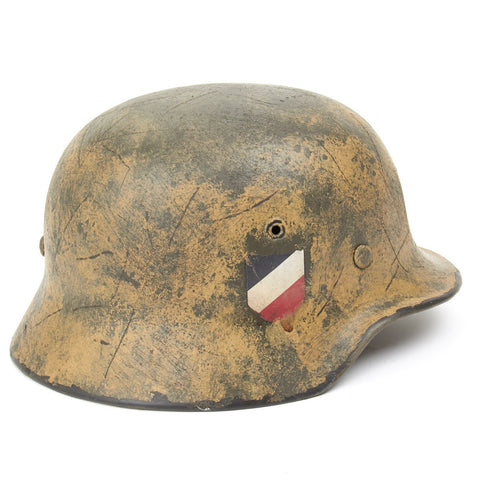 Original German WWII Refurbished M40 El Alamein - Afrikakorp 90th Light Division Helmet - Stamped EF64