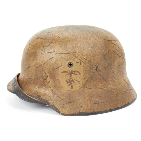 Original German WWII Refurbished M40 Deutsches Afrikakorp 5th Light Division (DAK) Heer Helmet Painted Palm- Stamped EF66