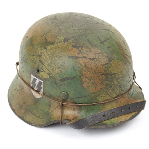 Original German WWII Refurbished M40 2nd SS Panzer Division Das Reich Kharkov Helmet - Stamped EF66
