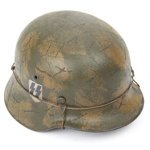 Original German WWII Refurbished M40 1st SS Panzer Division Leibstandarte Operation Goodwood Helmet - Stamped EF66