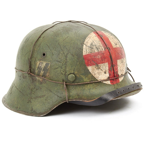 "Original German WWII Refurbished M42 2nd SS ""Das Reich"" Medic Sanitat Helmet - Stamped hkp66 Original Items"
