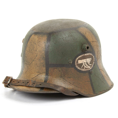 Original German WWI Refurbished Austro-Hungarian M17 Machine Gun Company Camouflage Helmet - Stamped W64