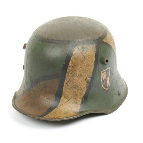 Original Imperial German WWI Refurbished M16 WWI 1st Foot Guards Regiment Camouflage Helmet – Stamped TJ66