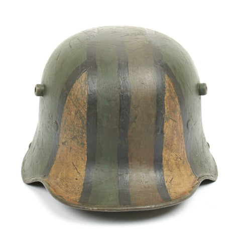 Original Imperial German WWI Refurbished M16 WWI Hand Painted Camouflage Helmet – Stamped Si66 Original Items