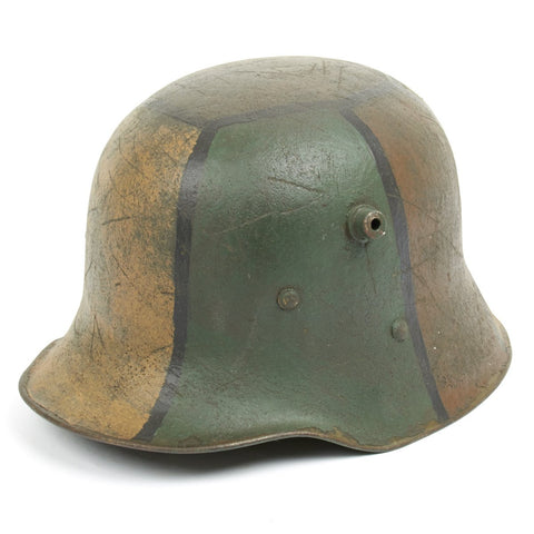 Original Imperial German WWI Refurbished M18 WWI Hand Painted Camouflage Helmet – Stamped W64