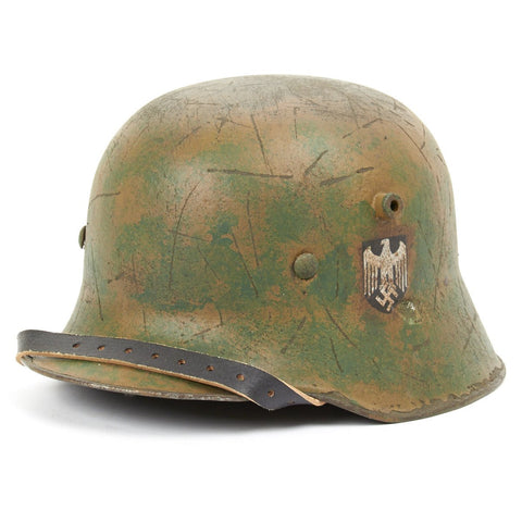 Original Imperial German WWI Refurbished M18 WWI Transitional Helmet with M31 WWII Liner - Stamped W64 Original Items