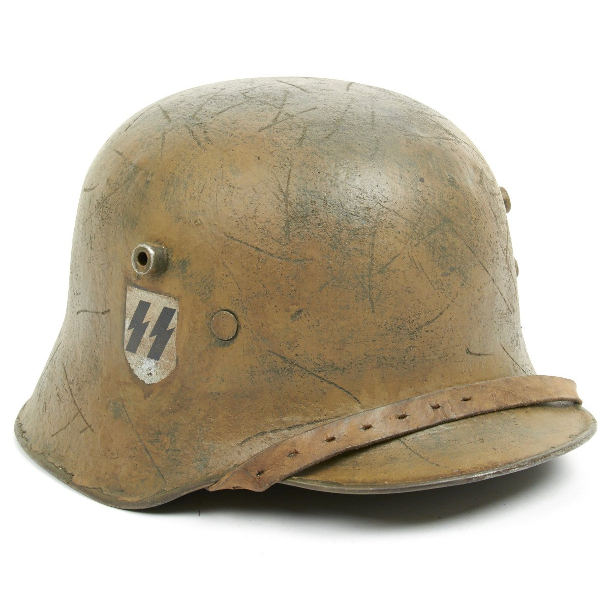 Original German WWI M18 Refurbished WW2 Transitional SS Helmet with