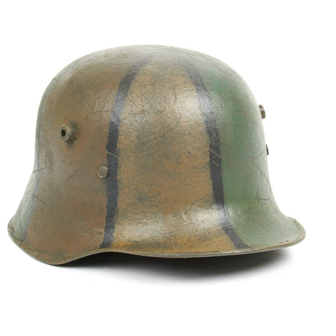 Original German WWI M18 Refurbished 1st Foot Guards Regiment 8th Kompanie Camouflage Helmet - Stamped TJ68