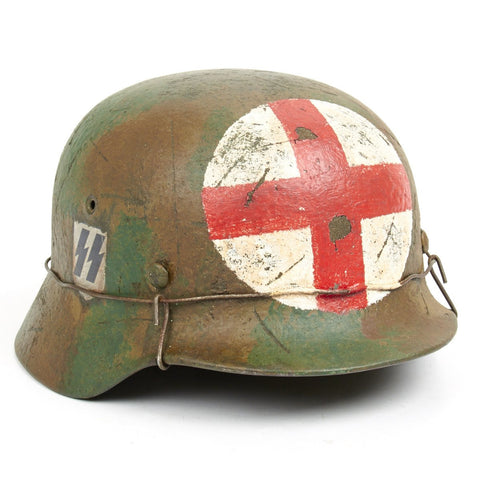 Original German WWII M40 Refurbished SS Normandy Medic Sanitat Helmet - Stamped Q66