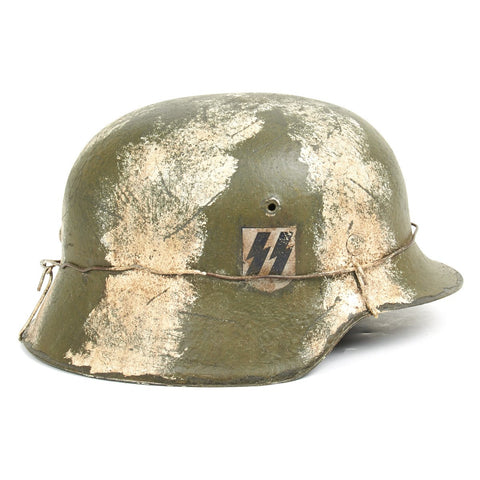 Original German WWII M40 Refurbished SS Winter White Stripe Helmet – Stamped NS66