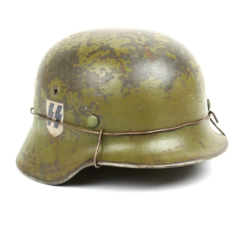 Original German WWII M40 Refurbished Panzer Division Leibstandarte Operation Goodwood Helmet – Stamped EF66 Original Items