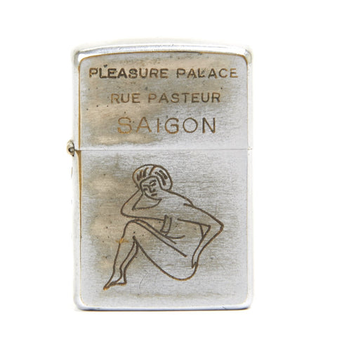 Original U.S. Vietnam War Zippo Cigarette Lighter of Pleasure Palace Saigon