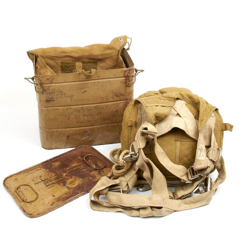 Original German WWII Fallschirmjager Parachute Complete Set with Harness and Transit Chest - Unissued