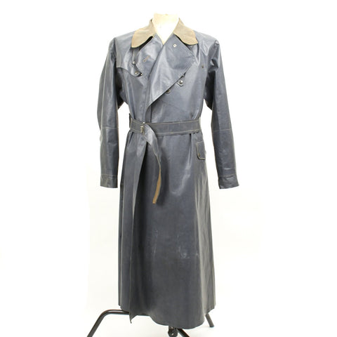 Original German WWII Kradmantel Rubberized Waterproof Motorcycle Greatcoat by Marquardt of Heilbronn - XL Size