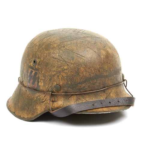 Original German WWII M42 Refurbished 12th SS 'Hitlerjugen' at Caan Helmet - Stamped hkp66 Original Items