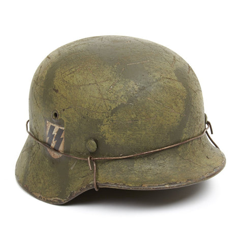Original German WWII M40 Refurbished Double Decal Normandy SS Helmet - Stamped Q66