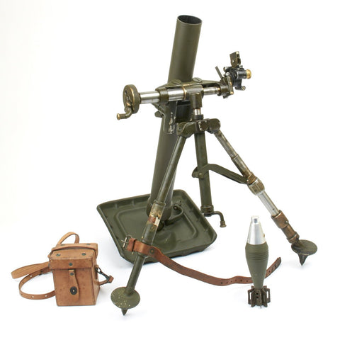 Original U.S. WWII M2 60mm Display Mortar with M4 Collimator Sight and Display Bomb - WW2 Dated